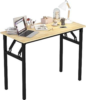 Radelldar Bureau Pliable Petit Espace Bureau Informatique Pliable Table d'ordinateur Aucun Assemblage Requis en Bois et Métal 100 x 48 x 74 cm (Couleur du Bois)