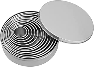 Stainless steel round biscuit mold set, 11-piece cookie cutter set, doughnut dough pastry and other ring molds for baking.