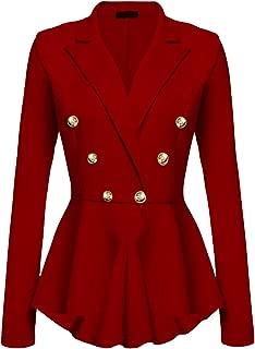 Women's Ringmaster Jacket Casual Work Double Breasted Crop High Low Peplum Blazer