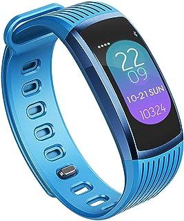 Pulsera Actividad Pantalla de Color Luminosa, Pulsómetro Pulsera Monitor de Sueño presión sanguínea Bluetooth Pulsera Impermeable PulseraInteligente Compatible con Android iOS,Azul