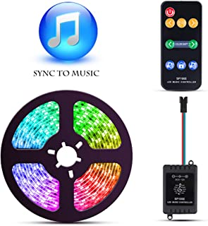 ELlight Dream Color Music LED Strip Lights, 5050 12V 150 LED Built-in IC, 16.4ft Sync to Music Flexible RGB Rope Light with RF Remote for Indoor Home Bedroom Holiday Party
