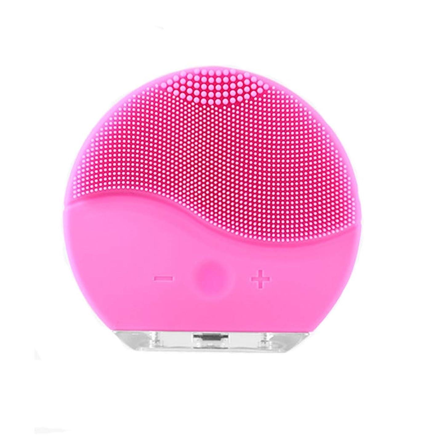 父方の速度回復する洗濯フェイスアーティファクト家庭用電化製品洗浄シリコーン電気洗浄器具usb充電防水美容器具洗浄ブラシ (Color : Pink)