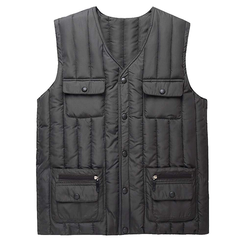 メンズベストポケット、秋の冬中年高齢者ベスト暖かい服,Green,L