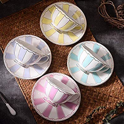 ACOOME Tea Cup and Saucer Set Stripe Series 4 packs