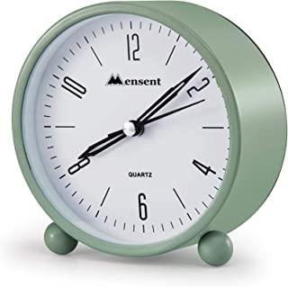 Alarm Clock.Mensent 4 inch Round Silent Analog Alarm Clock Non Ticking,with Night Light, Battery Powered Super Silent Alarm Clock, Simple Design Beside/Desk Alarm Clock (Green)