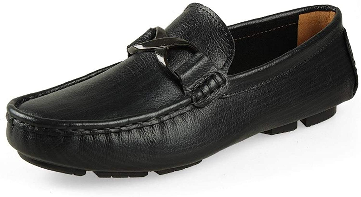 Men Boat Moccasins Slip On Style OX Leather Fashion Metaldecor Round Toe Pure colors Driving Loafer (color   Black, Size   4 UK)