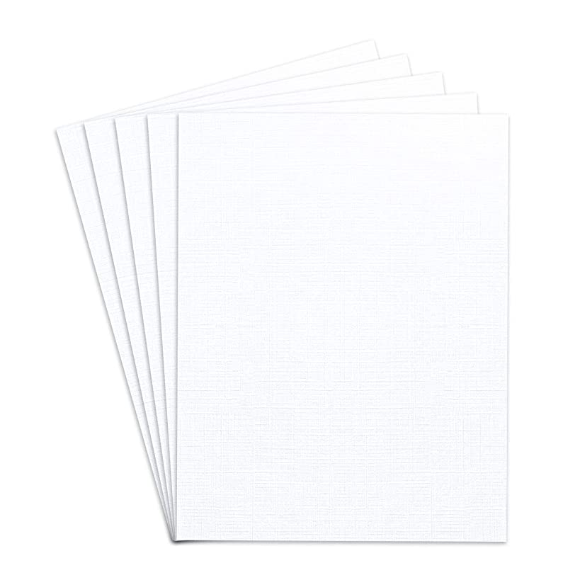 """Blank Heavyweight White Linen Textured Cardstock, 8 1/2"""" X 11"""" Inches Card Stock 
