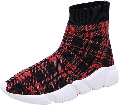 Qiusa Femmes Mocassins Easy Easy Easy Walk Slip-on Léger Confort Loisirs Mocassins Chaussures paniers (Couleuré   Rouge, Taille   42EU) f12