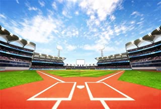 LFEEY 7x5ft Outdoor Sports Theme Backdrop Baseball Stadium Pitch Green Grass Field Photography Background Vinyl Boys Adutls Portrait Photo Booth Props
