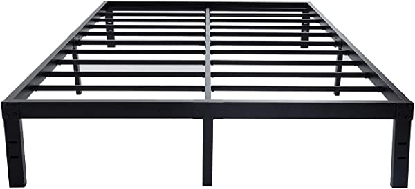 HOMUS 14 Inches Steel Slat Platform Bed Frame Heavy Duty And Easy Assembly Mattress Foundation Noise Free Box Spring Replacement Queen
