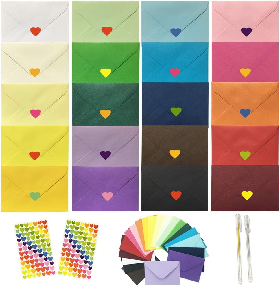 JOLLY SWEETS Fort Worth Mall 140 Pcs 20 We OFFer at cheap prices Rainbow Mini 4x2.7 Color Pocket Envelope