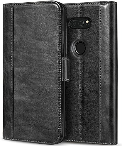 ProCase LG V30 V35 Echtes Leder Hülle, ProCase Falten Flip Case mit Kickstand & mehrere Kartensteckplätze Magnetverschluss Schutzhülle für LG V30 V35/ LG V30 Plus/LG V30S ThinQ/ V35 ThinQ -Schwarz