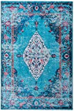 Mylife Rugs Traditional Vintage Non Slip Machine Washable Distressed Printed Area Rug, Turquoise Red 5'x7'