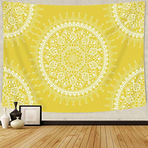 Arfbear Bohemian Tapestry, Mandala Hippie Popular Wall Hanging Tapestry Warm Yellow Beach Blanket
