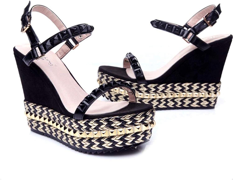 Ink shoes Summer with Waterproof Platform Rivet Straw Sandals Thick High Heel Small Size Women's High Heels