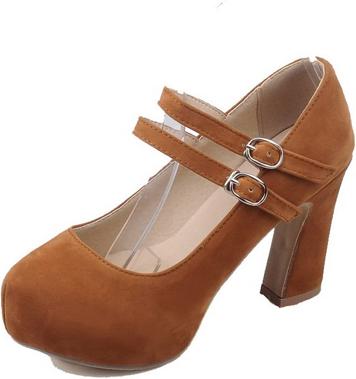 WeenFashion Women's Frosted Round Closed Toe Solid Pull-On Pumps-shoes,AMGDX006520