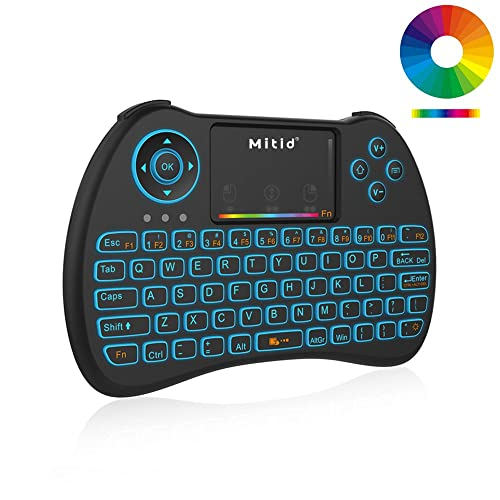 Mitid Wireless Mini Keyboard RGB Backlit 2.4G Remote with Mouse Touchpad Combos for Computer,