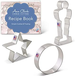 Ann Clark Cookie Cutters 3-Piece Movie Night Cookie Cutter Set with Recipe Booklet, Award Statue, Star and Circle