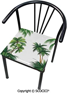 SCOCICI Chair Pads- Softness Square Chair Cushion Coconut Palm Tree Nature Paradise Plants Foliage Leaves Illustration Thicken Seat Cushion Not Deformed 16