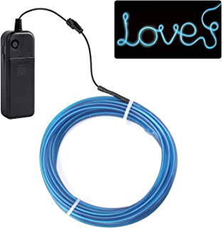 jiguoor EL Wire with Battery Pack 15ft / 5M Super Bright Halloween Light Neon Tube Neon Light Wire Glowing strobing of 360 Degrees of Illumination for Festival, Party Decoration(Blue,15ft / 5M)