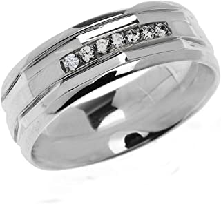Men's 925 Sterling Silver Comfort Fit Modern Wedding Band with Diamonds