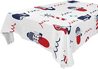 FCZ Rectangle Table Cover Sailor Lighthouse Dolphin Mermaid Pattern 60 x 108-inch Restaurant Banquet Decoration Oblong Round Coffee Heavy Weight Polyester Table Cloth