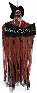 XONOR Halloween Hanging Skeleton Ghost - Sound and Touch Activated Screaming Skeleton Grim Reaper Decor Prop, 4ft/122cm Tall (Brown)
