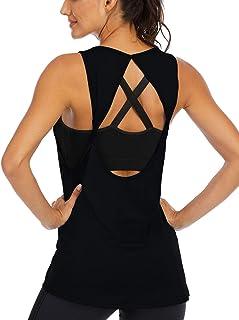 Fihapyli Women's Twist Open Back Sports Gym Tank Tops Yoga Shirts Activewear Sleeveless Workout Tops