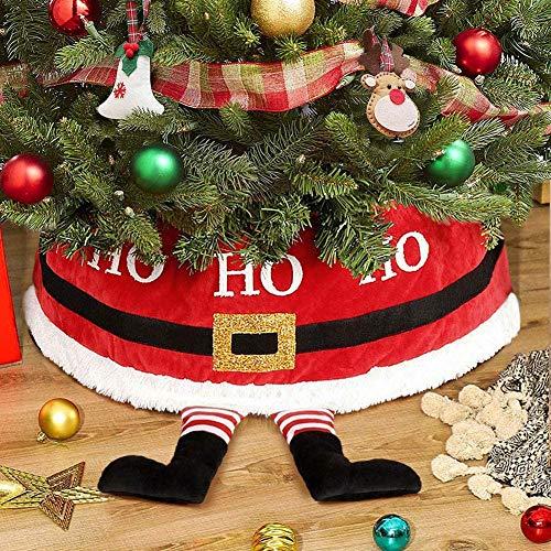 Sayala Falda de árbol de Navidad, decoración 3D, falda, decoración de Navidad, decoración con caja para paquetes (roja)