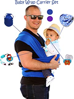 Hands Free Baby Wrap Carrier for Newborns and Toddlers Soft Comfortable and Ergonomic 0-36 Months Bonus Travel Bag, Drooling Feeding Bib, Pacifier and Holder for Easy Nursing: One Size Fits All