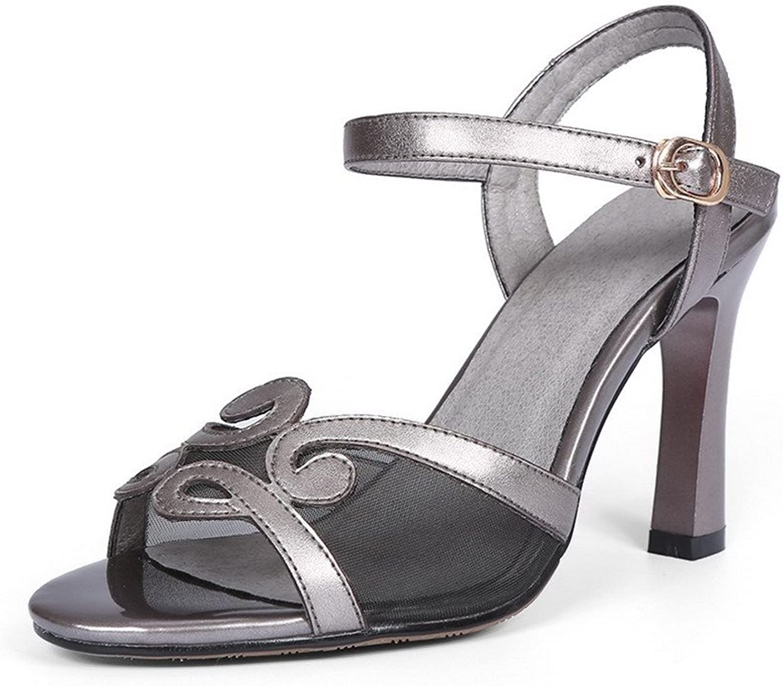 WeiPoot Women's Buckle Cow Leather Peep-Toe High-Heels Solid Sandals