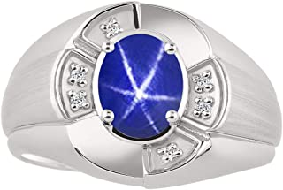 Unisex His/Hers Ring with Oval Shape Gemstone & Genuine Sparkling Diamonds in Sterling Silver .925-8X6MM Color Stone
