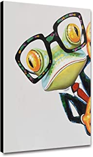 Canessioa Wall Art Canvas Painting Frogs Wearing Glasses and Suits Animal Theme Artwork Wall Decor for Bedroom Living Room Kitchen Corridor Office Staircase(12x16inch Unframed)