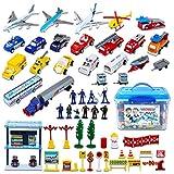 deAO Ensemble de Jeu pour aéroport de 57 pièces pour Enfants avec Enfants, Avions de Jeu, Figurines de Police et Accessoires