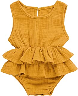 ed01d2974c6 Infant Newborn Baby Girl Romper Bodysuit Ruffle Bowknot One-Piece Jumpsuit Outfit  Clothes Summer 0