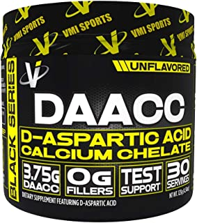 VMI Sports DAACC D-Aspartic Acid Calcium Chelate - Natural Test Support, Muscle Support, Improved Water Solubility, Unflavored, 30 Servings