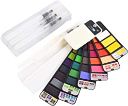 Watercolor Paint Set, 42 Assorted Colors Foldable Painting Kit with 3 Brushes, Portable Travel Pocket Watercolor Field Ske...