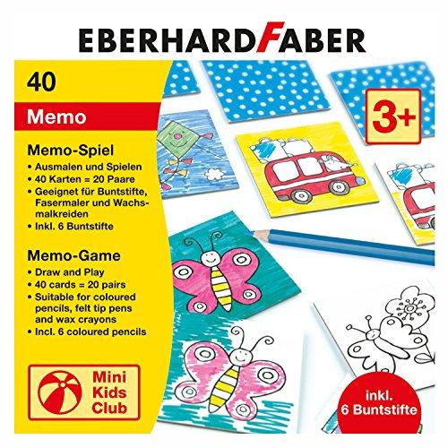 Eberhard Faber 579942 - Memo Spiel zum Ausmalen, inklusive Buntstifte