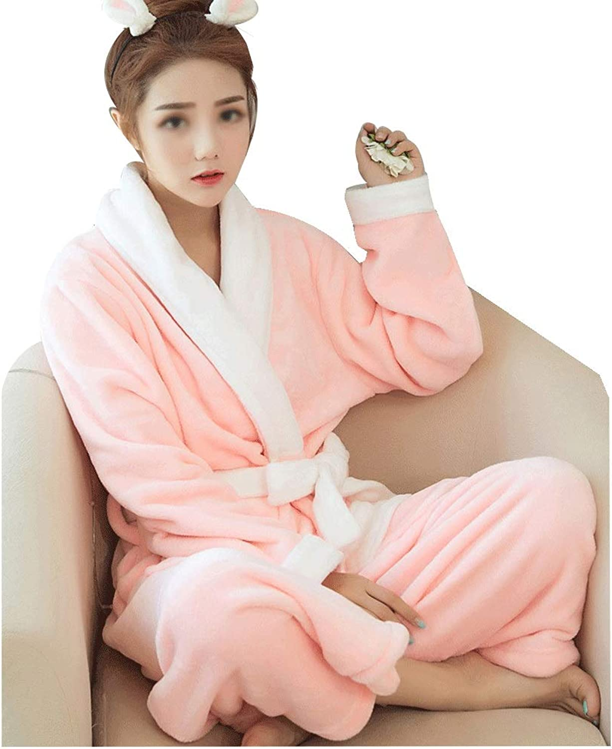 GJFeng Women's Robes Autumn and Winter Flannel Bathrobe Highend Plush Soft Solid color LongSleeved Pajamas Bathrobe (color   Pink)