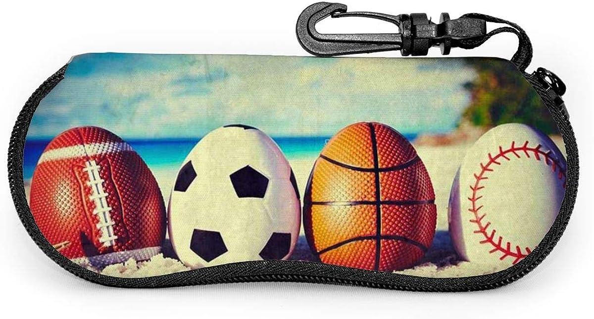 Easter Symbol Sport Balls Eggs On Ocean Beach Sunglasses Soft Case Ultra Light Neoprene Zipper Eyeglass Case With Key Chain