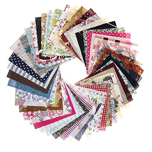 BCP 50pcs 10 x 10 CM Random Color Thin Cotton Fabric Charm Pack for Quilting Sewing DIY Craft