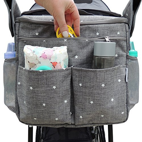 Insulated Stroller Organizer by Ozziko. Universal Design - Fits All Baby Strollers. Large Parents Console Bag with Cup Holders, Storage Pockets. Easily Attaches to Any Stroller. 3 Ways to Carry