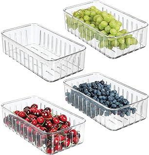 mDesign Pojemniki plastikowe na żywność do lodówki – Pudełka do przechowywania warzyw i owoców – Oddychające skrzynki plas...