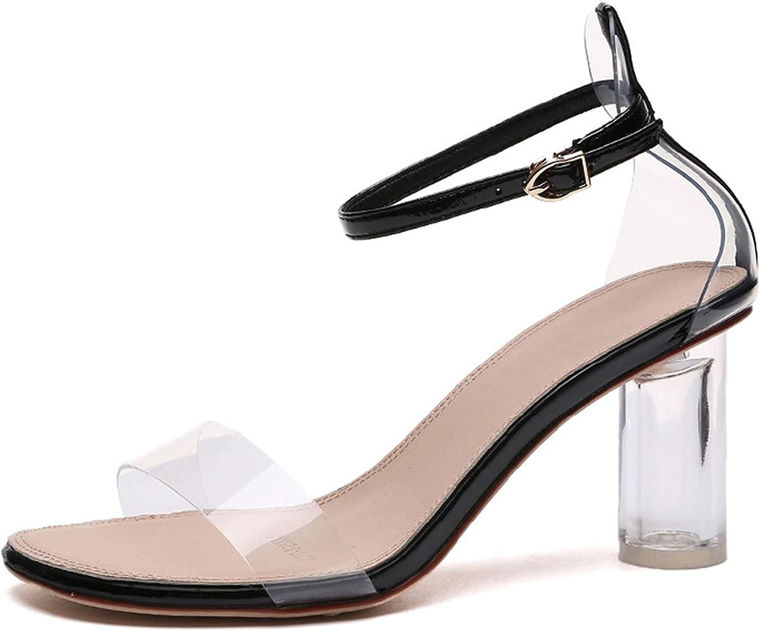 Fall for you-sandal Supply 2019 Spring Heels Models Transparent Crystal Thick with Sandals Women's shoes