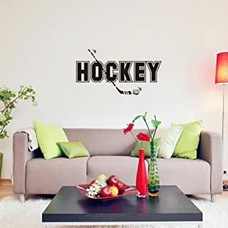 BIBITIME Sport Fans Wall Decal Hockey Sayings Sticker Art Mural Home Decor Quote for Player Bedroom Living Room Background,32.59