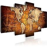 murando - Cuadro en Lienzo 200x100 cm - Impresion en Calidad fotografica - Lienzo Tejido-no Tejido - Cuadro en Lienzo Tejido-no Tejido - Mapa del Mundo Continente Mundo k-A-0062-b-n