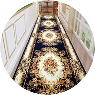 YANZHEN Hallway Runner Rugs Corridor Carpet Non-Slip Soft Floral Pattern Low Pile Easy to Clean Blended Fabric, Thickness 7mm