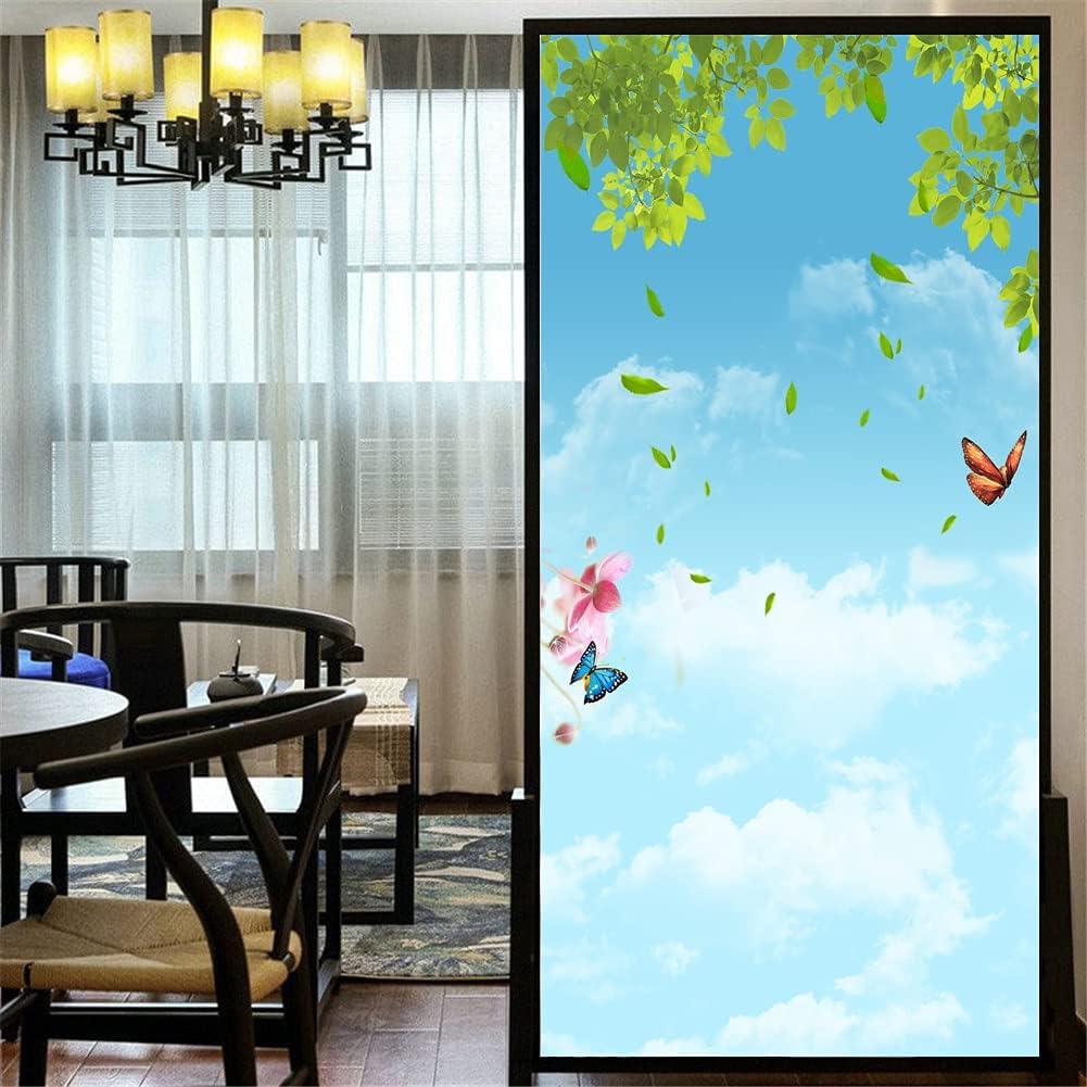 LXDWEI Privacy Window Film Customize Max 53% OFF 86D Nippon regular agency Flower Static Beautiful