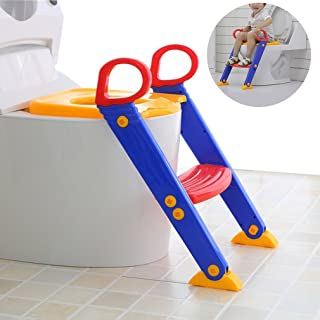 House of Quirk Potty Toilet Seat with Step Stool Ladder 3-in-1) Trainer for Kids Toddlers W/Handles (Multicolour)