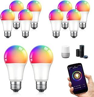 Paquete 10 Focos Inteligentes WiFi Multicolor y Luz Blanca Fría y Cálida Bombilla Inteligente RGB y Luz Blanca de 2700K a ...